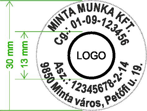 Szövegbélyegző, bélyegző, gumilap, minta, 4 soros, trodat 4630
